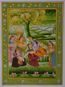 Traditional Indian art title Krishna In Conversation With Radhaji on Silk - Miniature Paintings