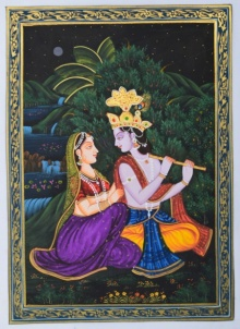 Traditional Indian art title Krishna Playing Baansuri For Radhaji on Silk - Miniature Paintings