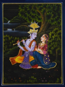 Traditional Indian art title Krishna Playing Flute For Radha on Silk - Miniature Paintings