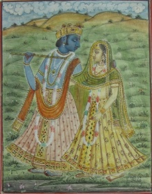 Traditional Indian art title Krishna Playing Flute With Radha on Paper - Miniature Paintings