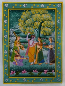 Unknown | Miniature Traditional art title Krishna Playing Flute With Radha And Gop on Silk | Artist Unknown Gallery | ArtZolo.com