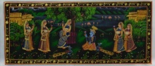 Traditional Indian art title Krishna Pleasing Radha on Silk - Miniature Paintings