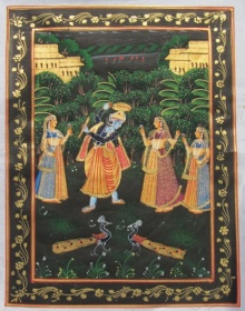 Unknown | Miniature Traditional art title Krishna Raas Leela on Silk | Artist Unknown Gallery | ArtZolo.com