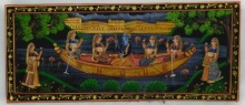 Traditional Indian art title Krishna Radha In Boat on Silk - Mughal Paintings