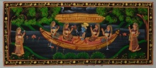 Unknown | Miniature Traditional art title Krishna Radha In Boat With Sevika on Silk | Artist Unknown Gallery | ArtZolo.com