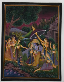 Traditional Indian art title Krishna Radha In Conversation on Silk - Miniature Paintings