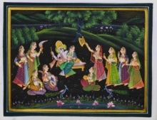 Traditional Indian art title Krishna Radha Moments on Silk - Miniature Paintings