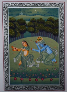 Traditional Indian art title Krishna Radha Playful Moments on Silk - Miniature Paintings