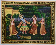 Traditional Indian art title Krishna Radha Raas Leela on Silk - Miniature Paintings