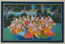 Traditional Indian art title Krishna Radha Raas Leela Magical Scene on Paper - Miniature Paintings