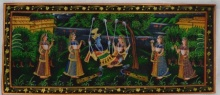 Traditional Indian art title Krishna Radha Swinging And Teasing on Silk - Miniature Paintings