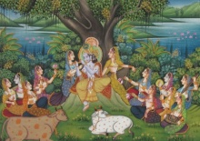 Traditional Indian art title Krishna Teasing Gopis on Silk - Miniature Paintings