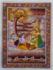 Unknown | Miniature Traditional art title Krishna Teasing Gopis on Silk | Artist Unknown Gallery | ArtZolo.com