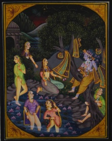 Traditional Indian art title Krishna Teasing Gopis In Pond on Silk - Miniature Paintings