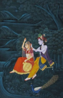 E Craft | Miniature Traditional art title Krishna Teasing Radha on Silk | Artist E Craft Gallery | ArtZolo.com