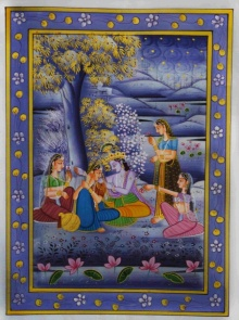 Traditional Indian art title Krishna With Radha At Night on Silk - Miniature Paintings