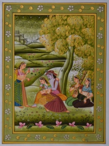 Traditional Indian art title Krishna With Shy Radhaji on Silk - Miniature Paintings