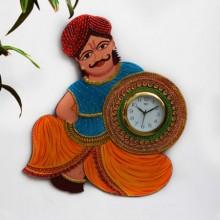 E Craft | Rajasthani Turban Man Wall Clock Craft Craft by artist E Craft | Indian Handicraft | ArtZolo.com