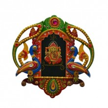 E Craft | Ganesha with Peocock Wall Hanging Craft Craft by artist E Craft | Indian Handicraft | ArtZolo.com