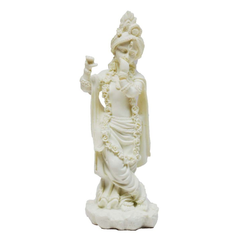 Pure White Statue Of Lord Krishna Religious On Synthetic Fiber