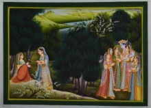 Unknown | Miniature Traditional art title Lord Krishna With Gopis on Silk | Artist Unknown Gallery | ArtZolo.com