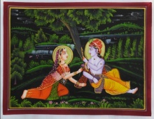 Traditional Indian art title Lord Krishna With Radhaji on Silk - Miniature Paintings
