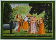 Traditional Indian art title Lord Krishna With Radhaji In Raas Leela on Silk - Miniature Paintings