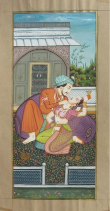 Traditional Indian art title Magnificient Mughal Love Scene on Paper - Mughal Paintings
