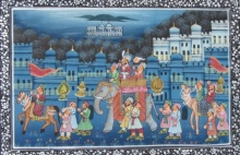 Traditional Indian art title Majestic Mughal King Procession Painting on Silk - Miniature Paintings