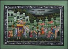Traditional Indian art title Majestic Royal Procession 1 on Silk - Mughal Paintings