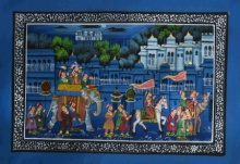 Traditional Indian art title Majestic Royal Procession 2 on Silk - Mughal Paintings