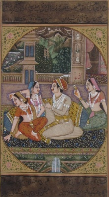 Traditional Indian art title Melodious Sprink Mughal Painting on Paper - Mughal Paintings