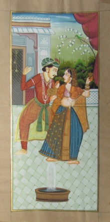 Traditional Indian art title Melody Recreation Mughal Painting on Paper - Mughal Paintings