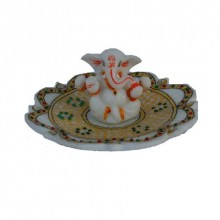 E Craft | Ganesha on Marble Stone Studded Plate Craft Craft by artist E Craft | Indian Handicraft | ArtZolo.com