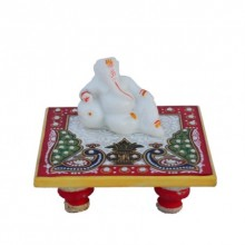 E Craft | Ganesha resting on Marble Chowki Craft Craft by artist E Craft | Indian Handicraft | ArtZolo.com