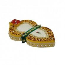 E Craft | Stone Studded Marble Chopra Leaf Design Craft Craft by artist E Craft | Indian Handicraft | ArtZolo.com