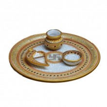 E Craft | Golden Marble Pooja Thali with Swastik Craft Craft by artist E Craft | Indian Handicraft | ArtZolo.com