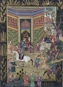 Unknown | Mughal Traditional art title Mughal on Cloth | Artist Unknown Gallery | ArtZolo.com