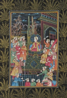 E Craft | Mughal Traditional art title Mughal Court on Silk | Artist E Craft Gallery | ArtZolo.com