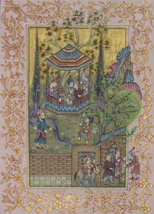 Traditional Indian art title Mughal Court on Silk - Mughal Paintings