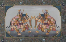 Traditional Indian art title Mughal Elephants 1 on Silk - Mughal Paintings