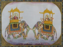 E Craft | Mughal Traditional art title Mughal Elephants 2 on Silk | Artist E Craft Gallery | ArtZolo.com