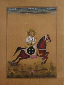Traditional Indian art title Mughal Emperor On Horse on Paper - Mughal Paintings