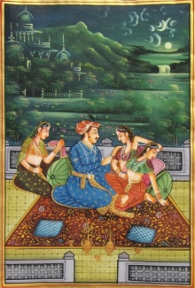 Traditional Indian art title Mughal Emporer on Silk - Miniature Paintings