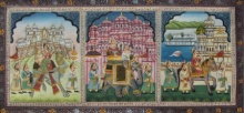 Traditional Indian art title Mughal King on Silk - Mughal Paintings