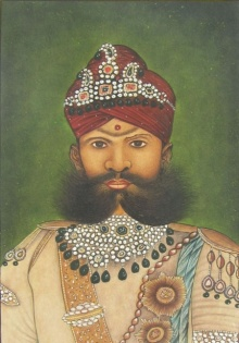 Traditional Indian art title Mughal King on Paper - Mughal Paintings