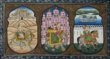 Traditional Indian art title Mughal King On Animals 1 on Silk - Mughal Paintings