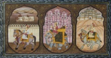 Traditional Indian art title Mughal King On Animals 2 on Silk - Mughal Paintings