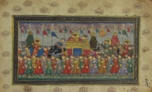 Traditional Indian art title Mughal King On Elephant With Army on Paper - Mughal Paintings