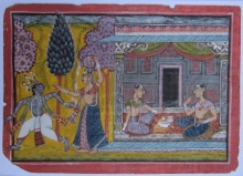 Traditional Indian art title Mughal Moments on Paper - Mughal Paintings